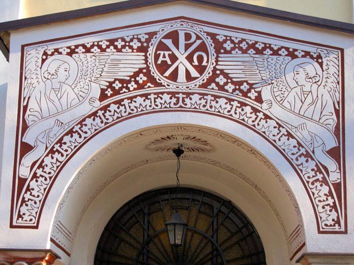 Sgraffitoarbeiten an einer russisch-orthodoxen Kathedrale
